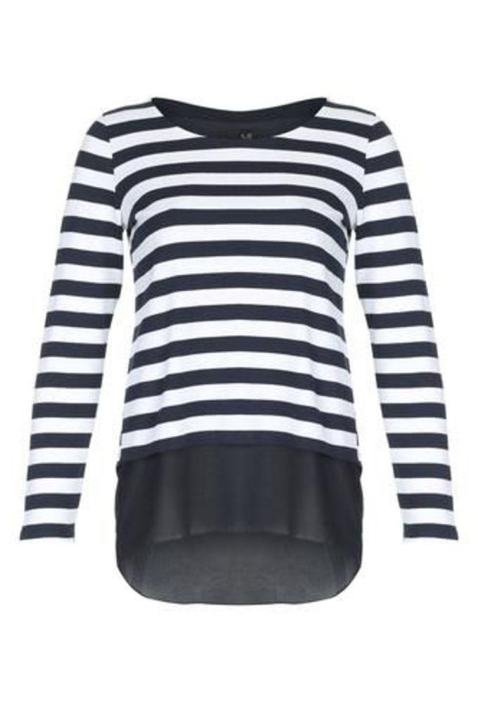 Striped Chiffon Hem Top