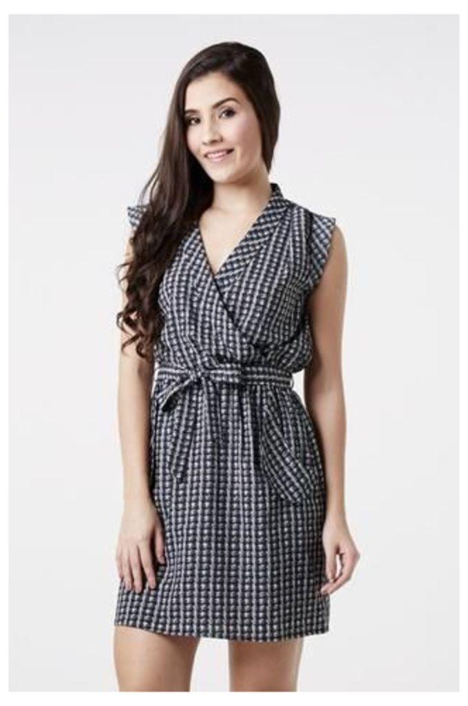 Houndstooth Print Wrap Dress