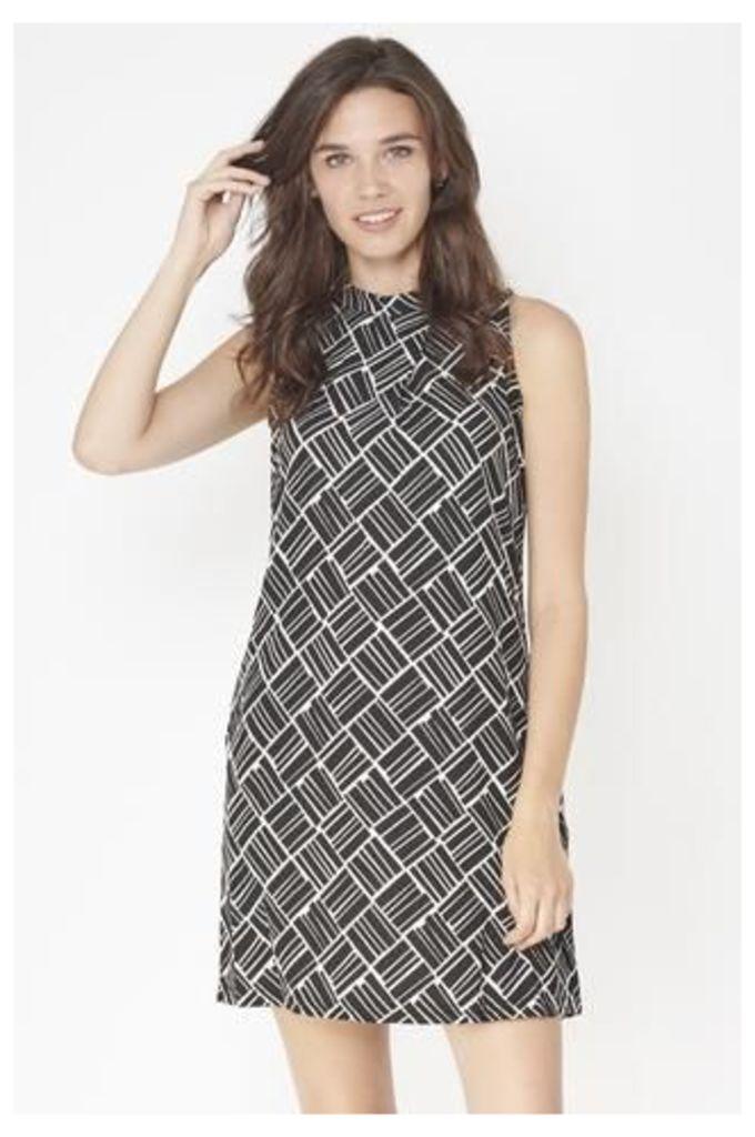 Asymmetric Geometric Print Dress