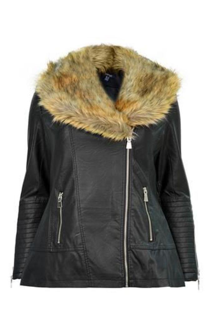 Plus Size Faux Fur Collar Biker Coat