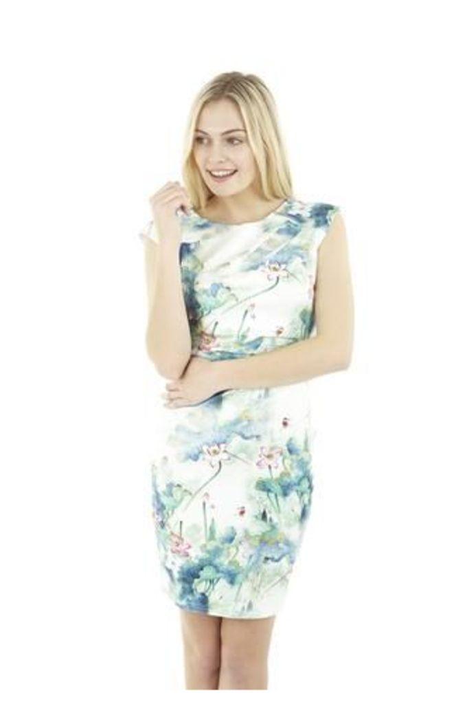 Oriental Floral Bodycon Dress