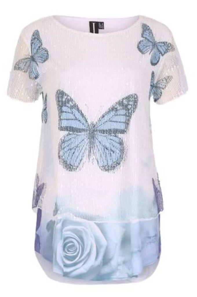 Butterfly Contrast Hem Top