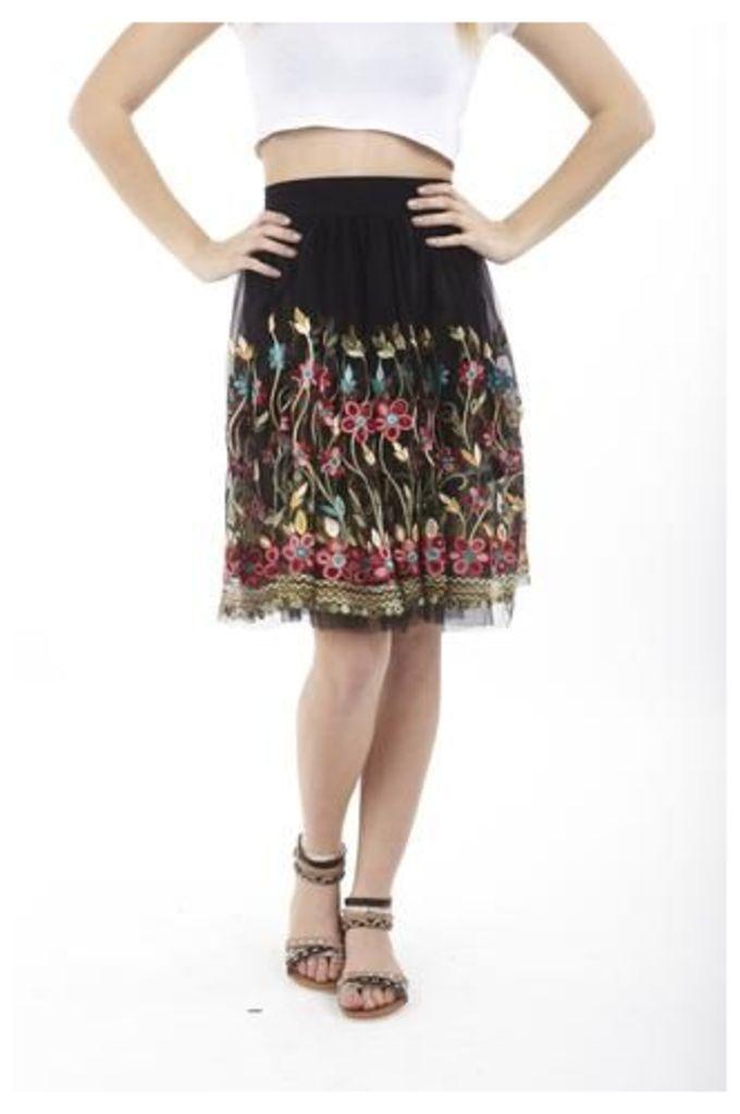 Flared Folk Embroidered Skirt