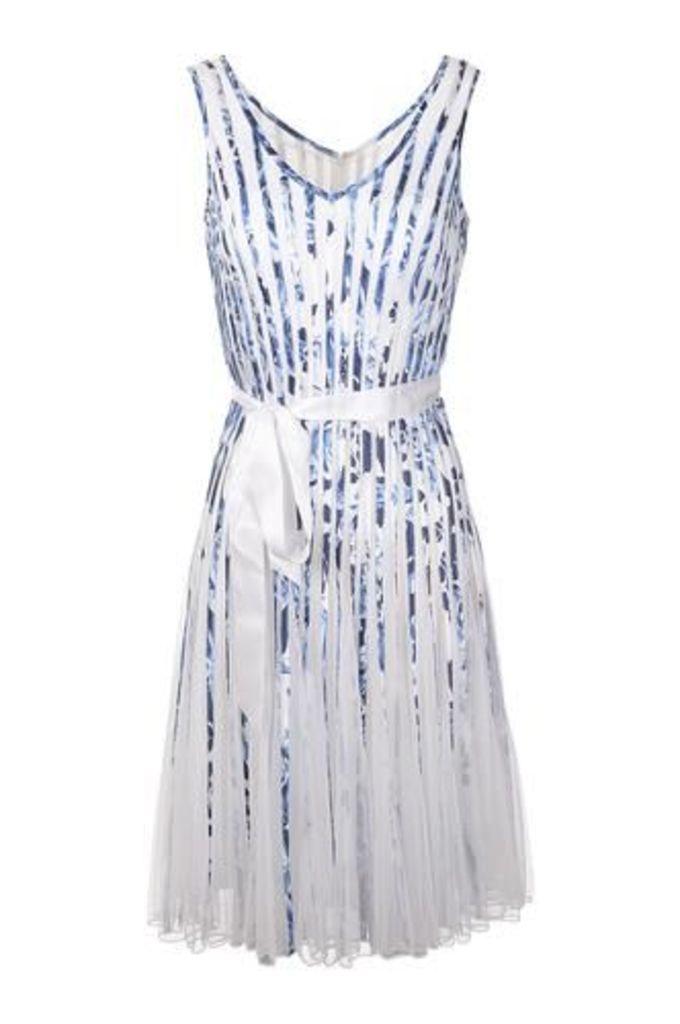 Ribbon Stripe Dress With Mesh Skirt