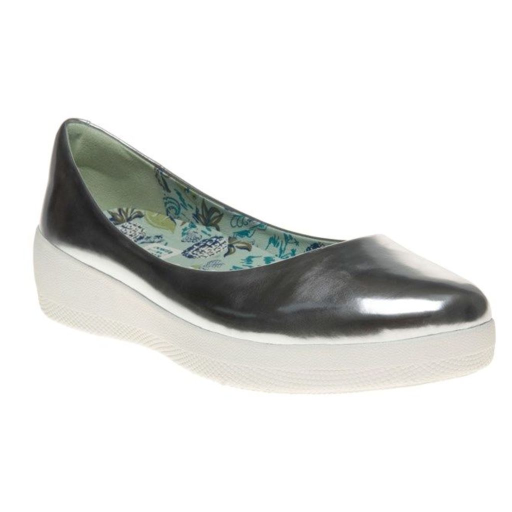FitFlop Anna Sui Super Ballerina Shoes, Silver Mirror