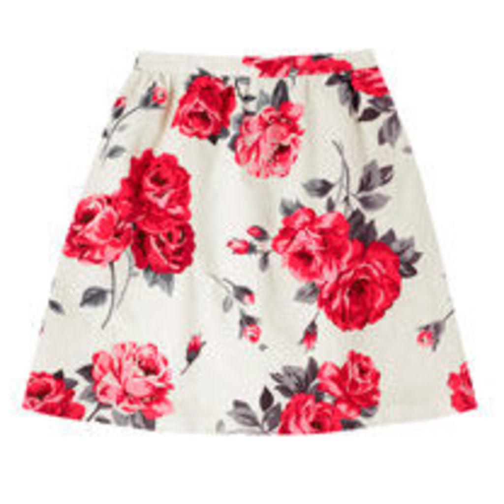 Ardingly Rose Cotton Spot Jacquard Skirt