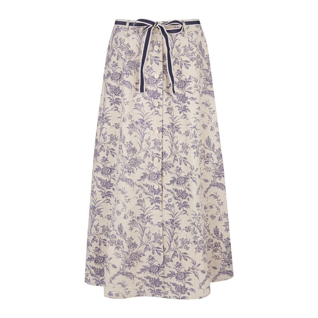 Button Front Floral Toile Print Linen Skirt