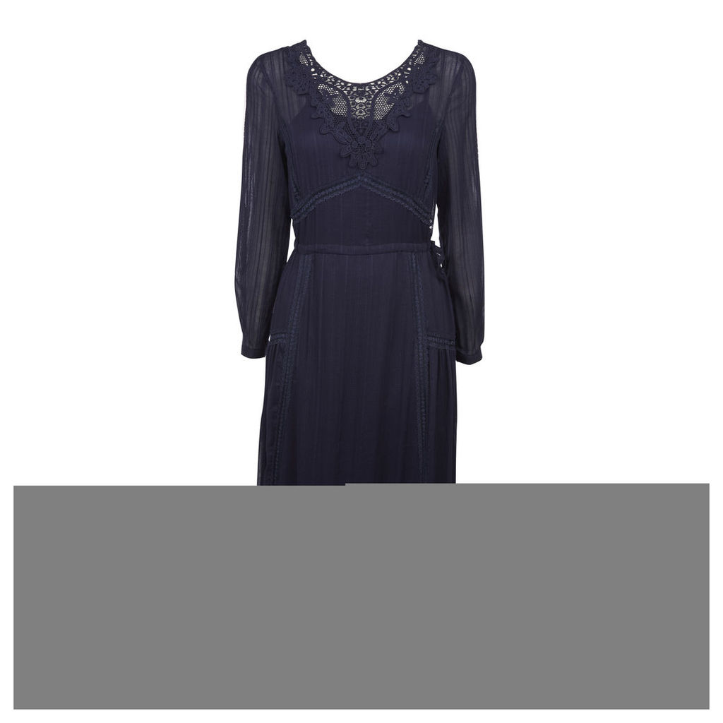 Crochet Lace Insert Midi Dress