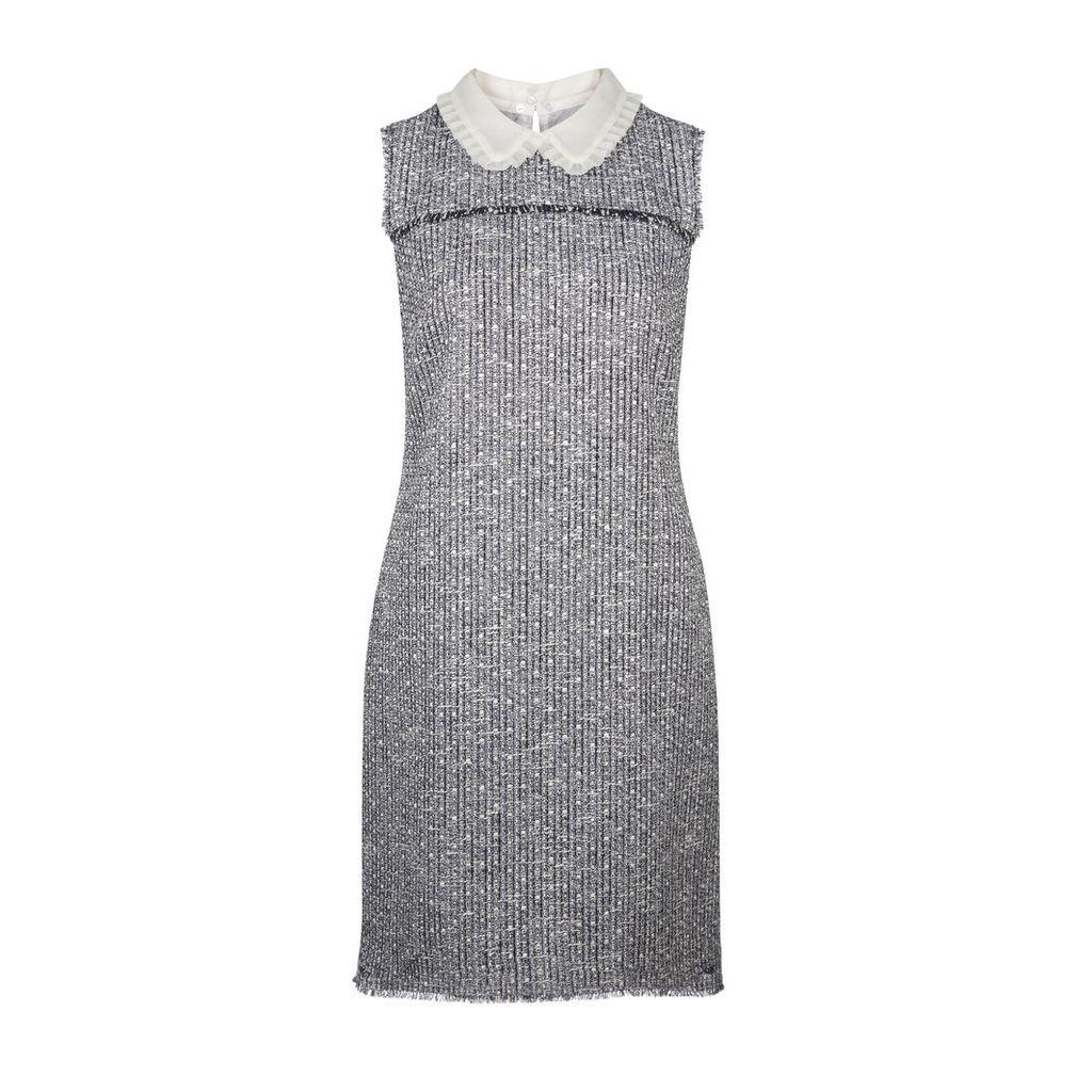 Tweed Shift Collar Dress