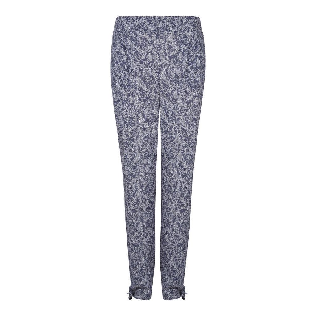 Blue Floral Print Harem Trousers