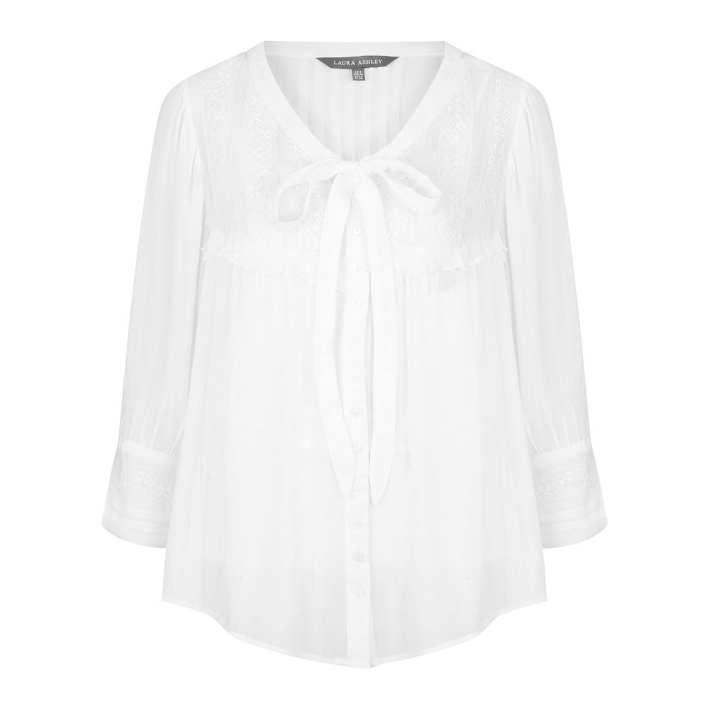 Ruffle and Lace Tie Neck Blouse with Camisole
