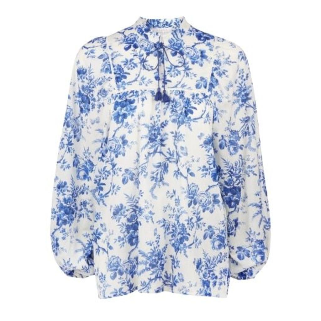 Floral Toile Print Smock Blouse