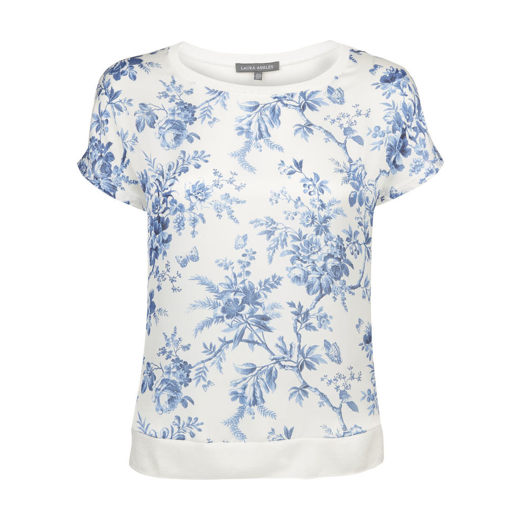 Cap Sleeve Floral Toile Print TShirt