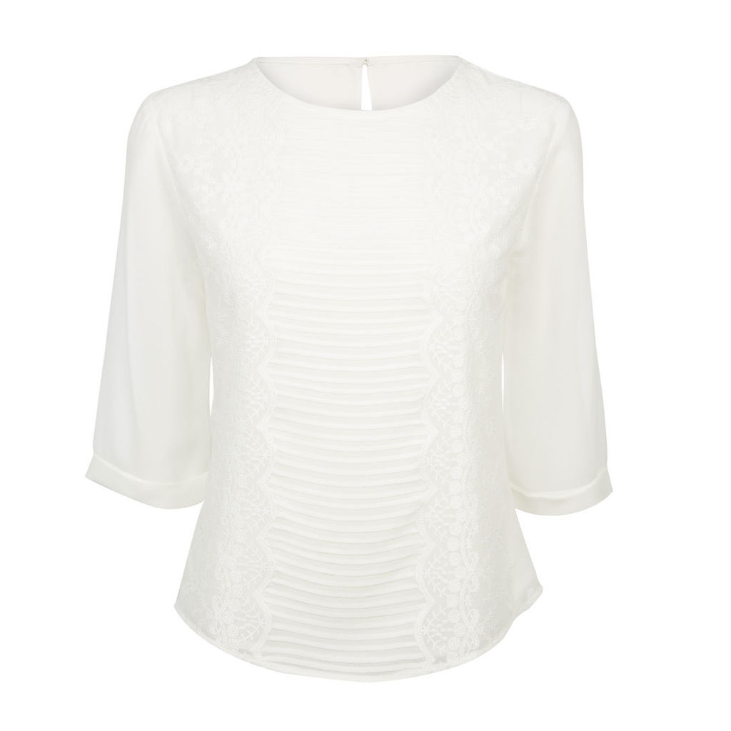 White Embroidered Lined SemiSheer Blouse
