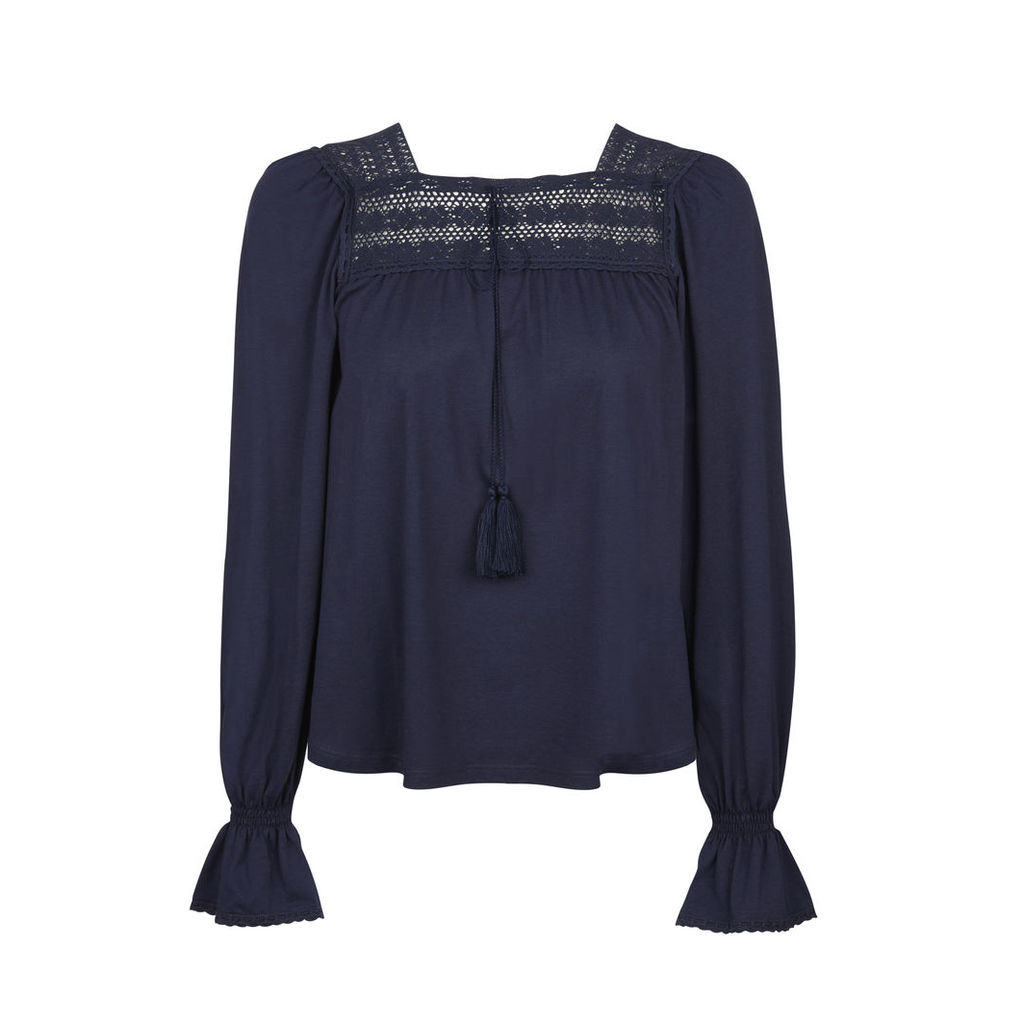 Peasant Top with Lace Trims and Tassel Detail