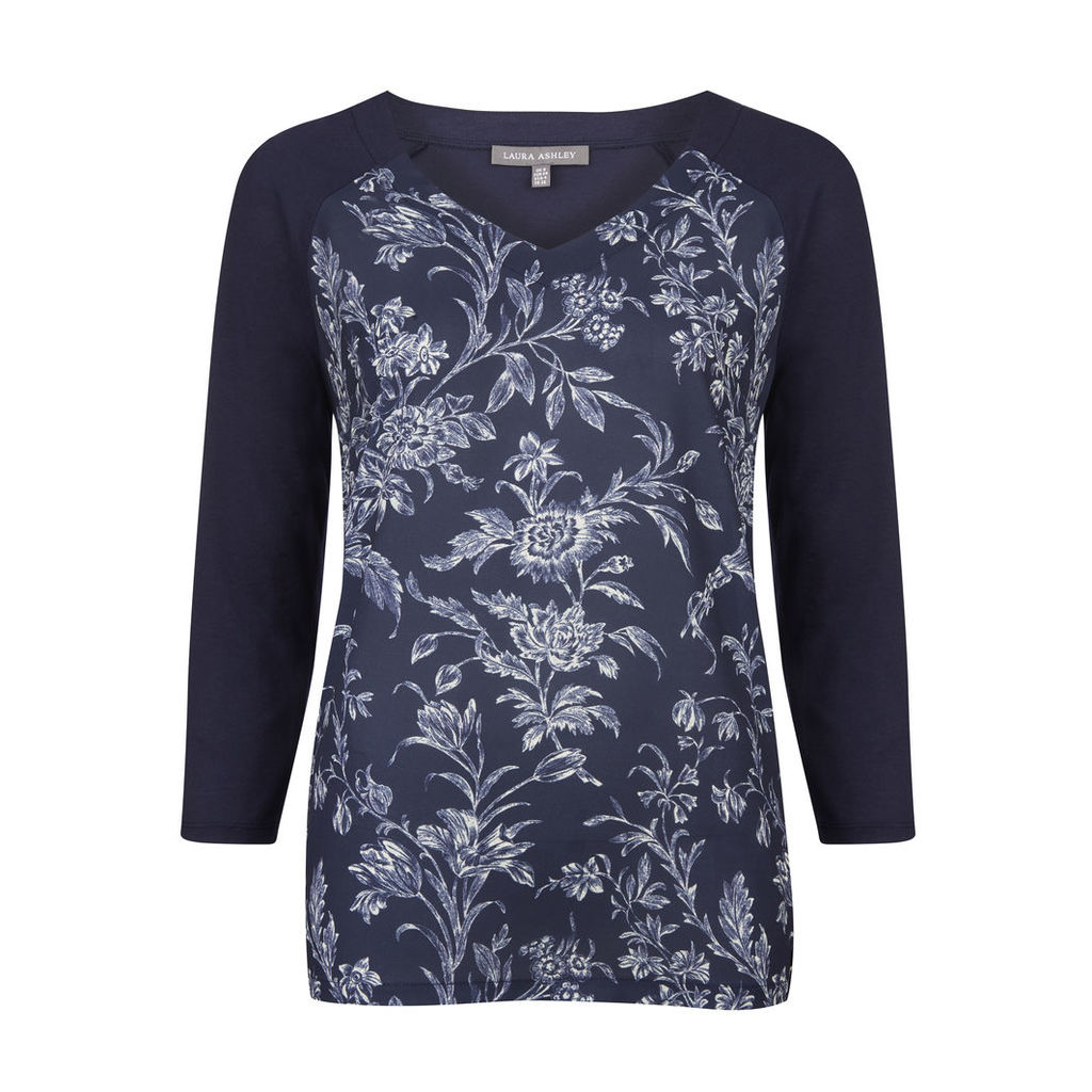 Woven Front Floral Toile Print Top