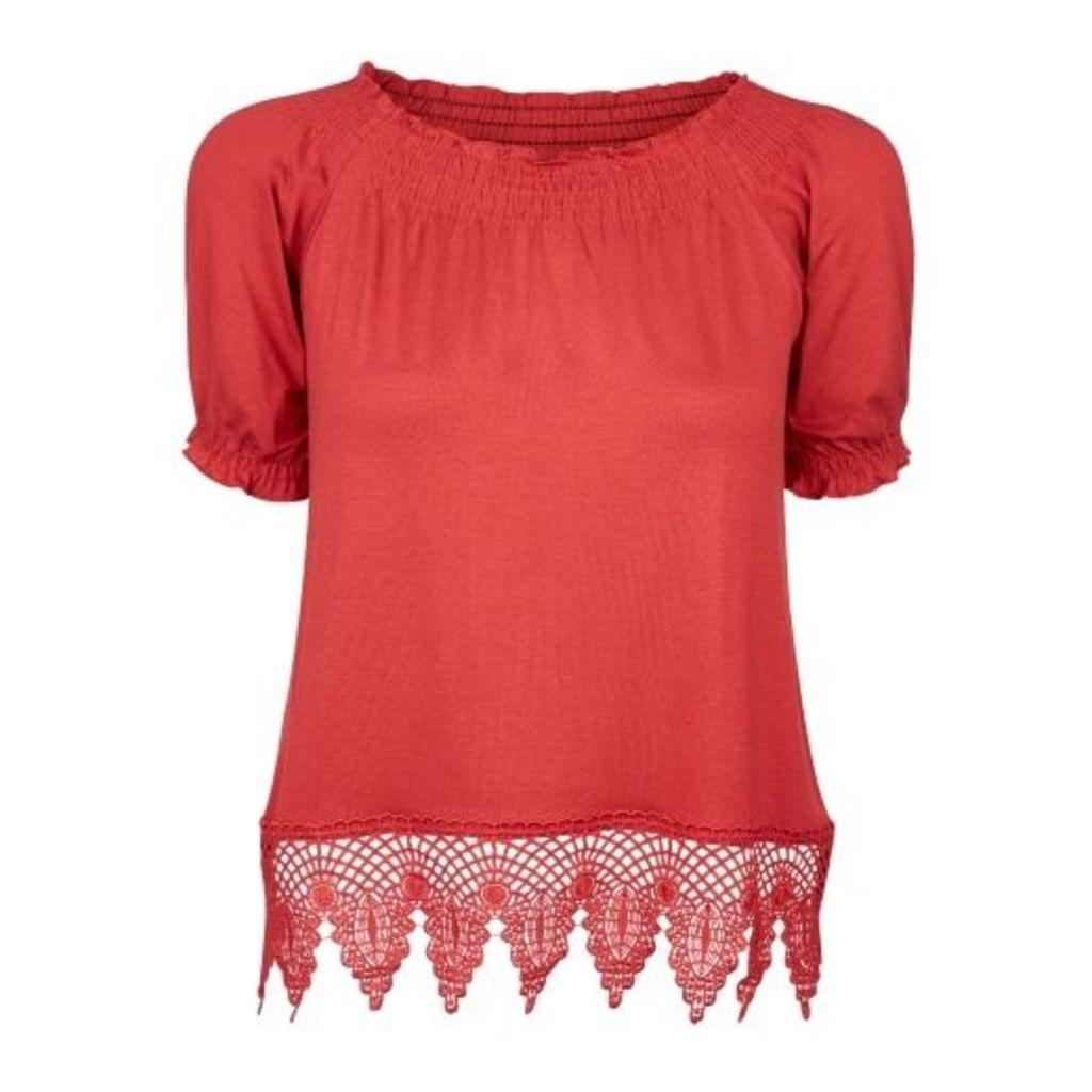 Red Bardot Neck Lace Hem Top