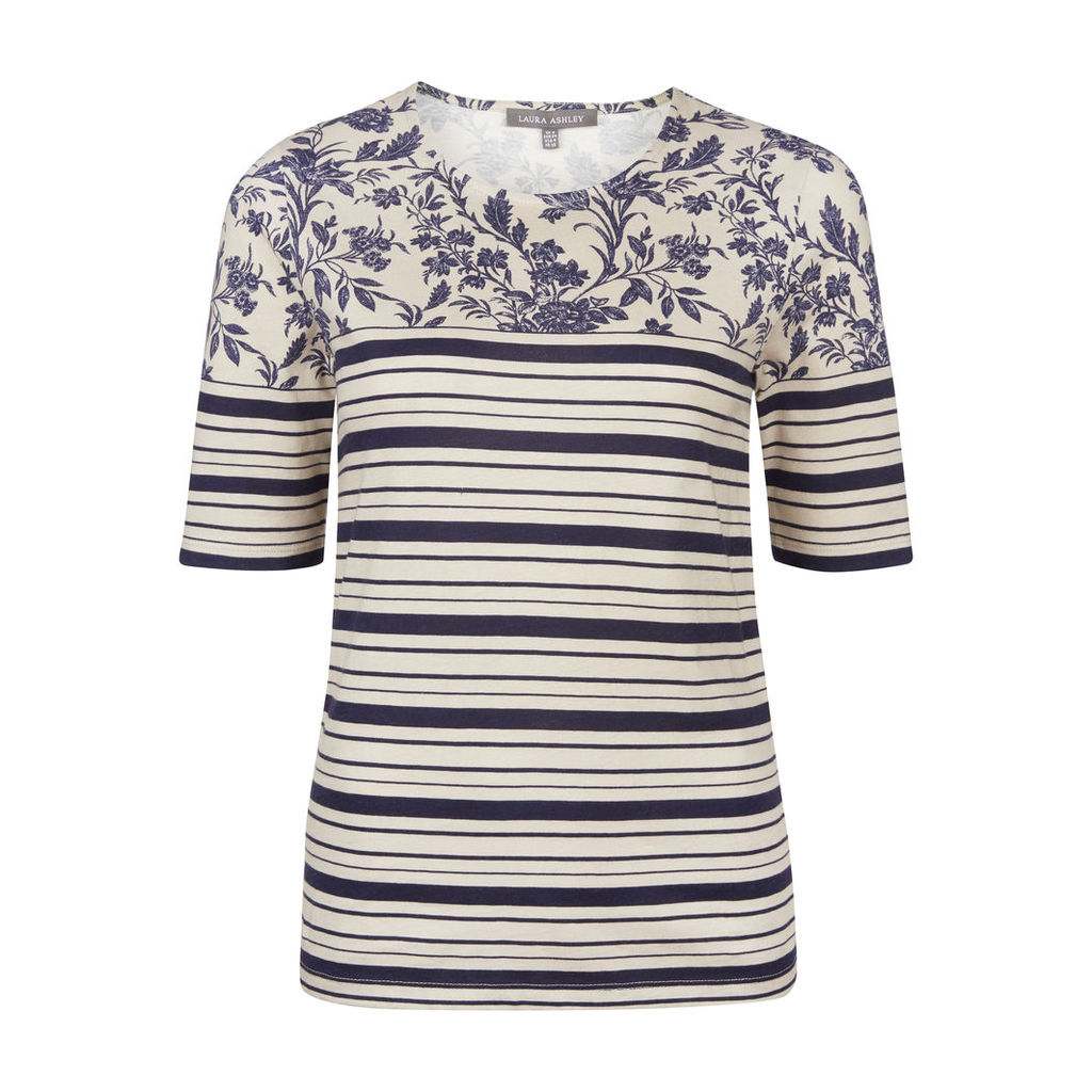 Blue Stripe and Floral TShirt