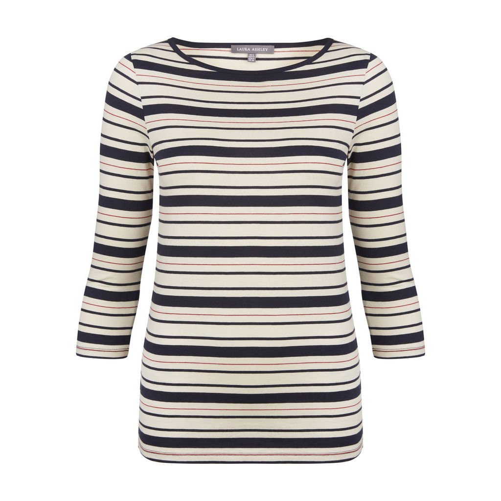 Three Quarter Sleeve Stripe Top