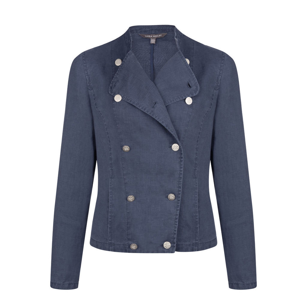 Double Breasted Linen Military Jacket