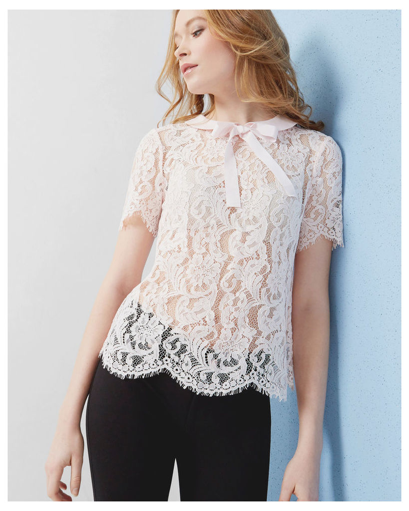 Ted Baker Bow detail lace top Baby Pink