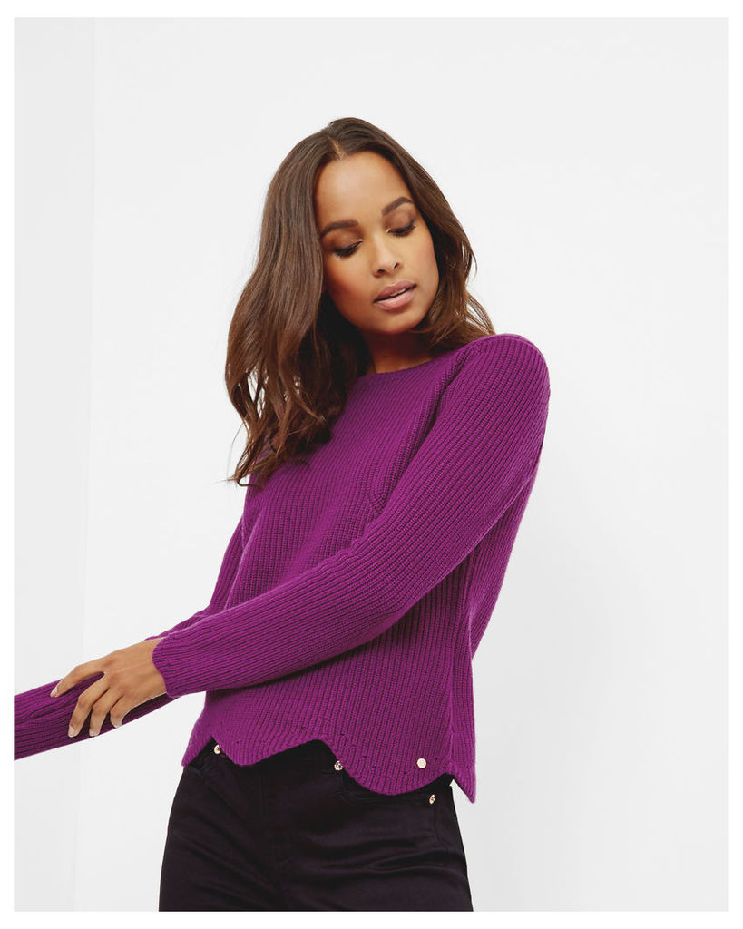 Ted Baker Scalloped edge ribbed sweater Deep Purple