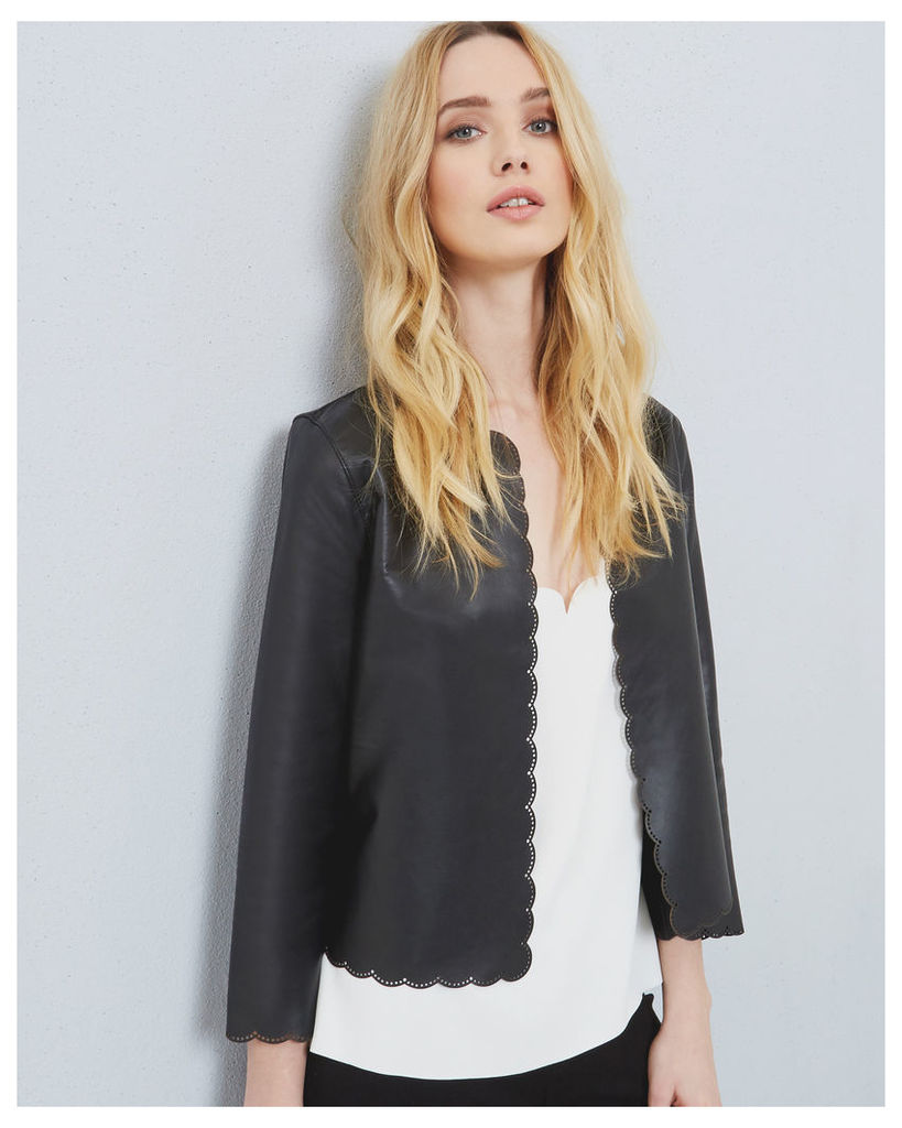 Ted Baker Scallop trim leather jacket Black
