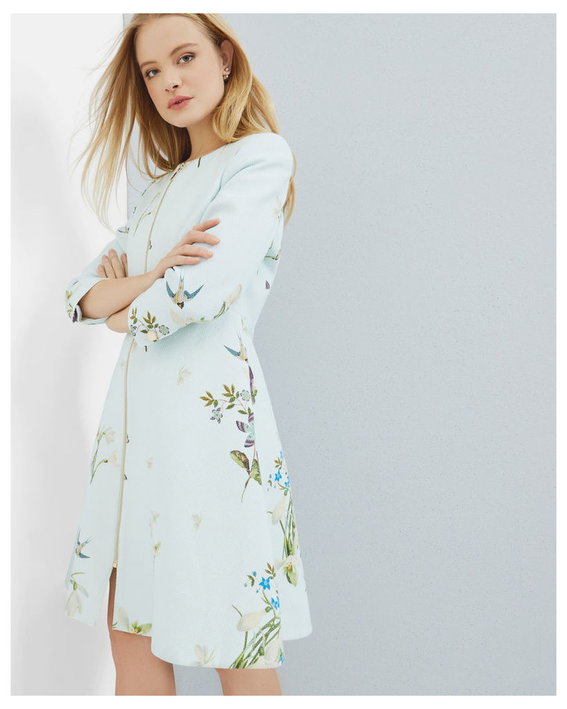 Ted Baker Spring Meadow collarless coat Baby Blue