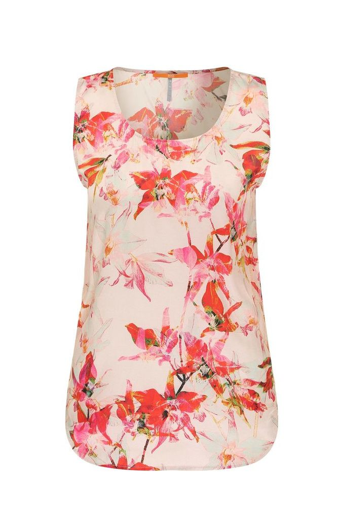 Floral printed top in viscose blend with silk: `Kethny1`