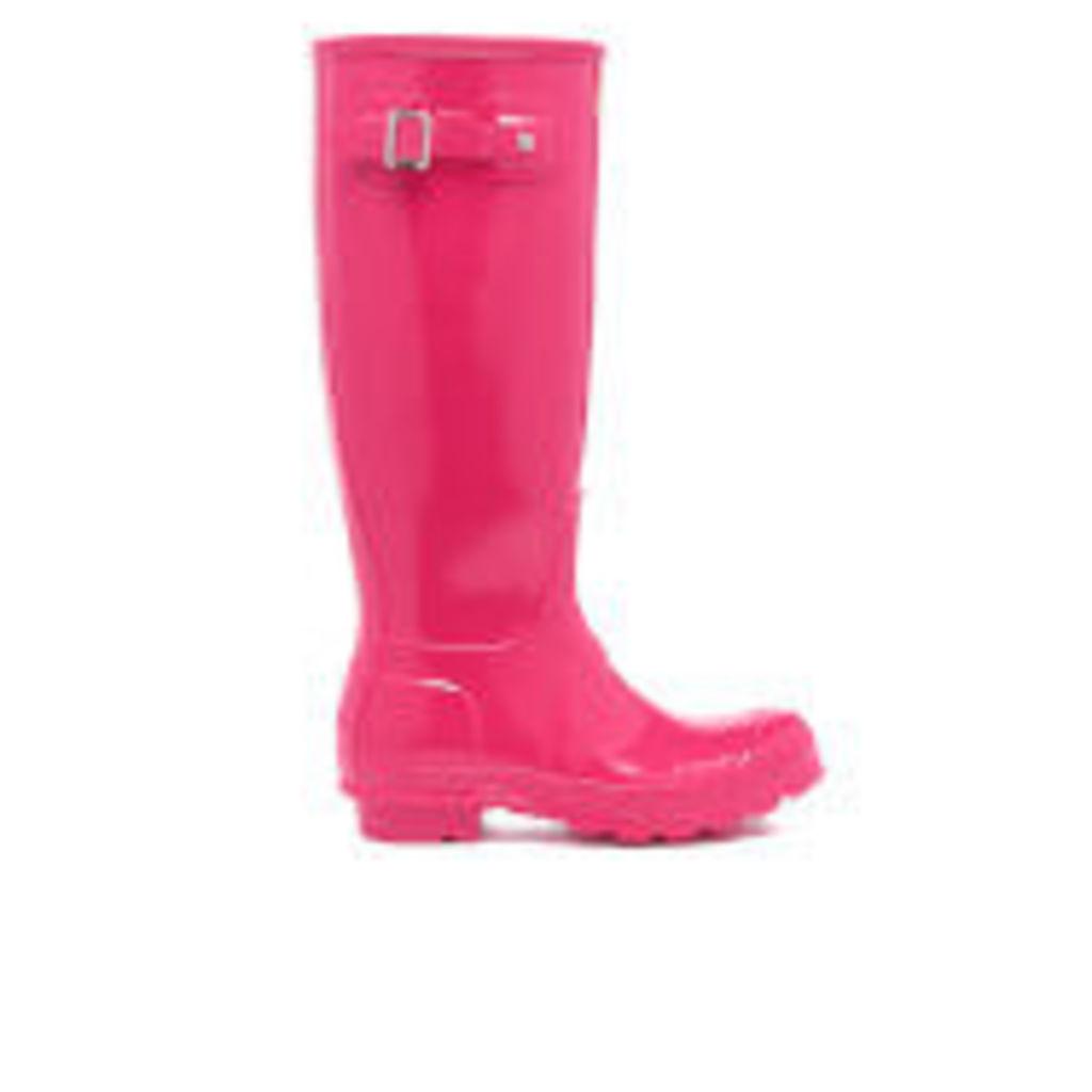 Hunter Women's Original Tall Gloss Wellies - Bright Pink - UK 3