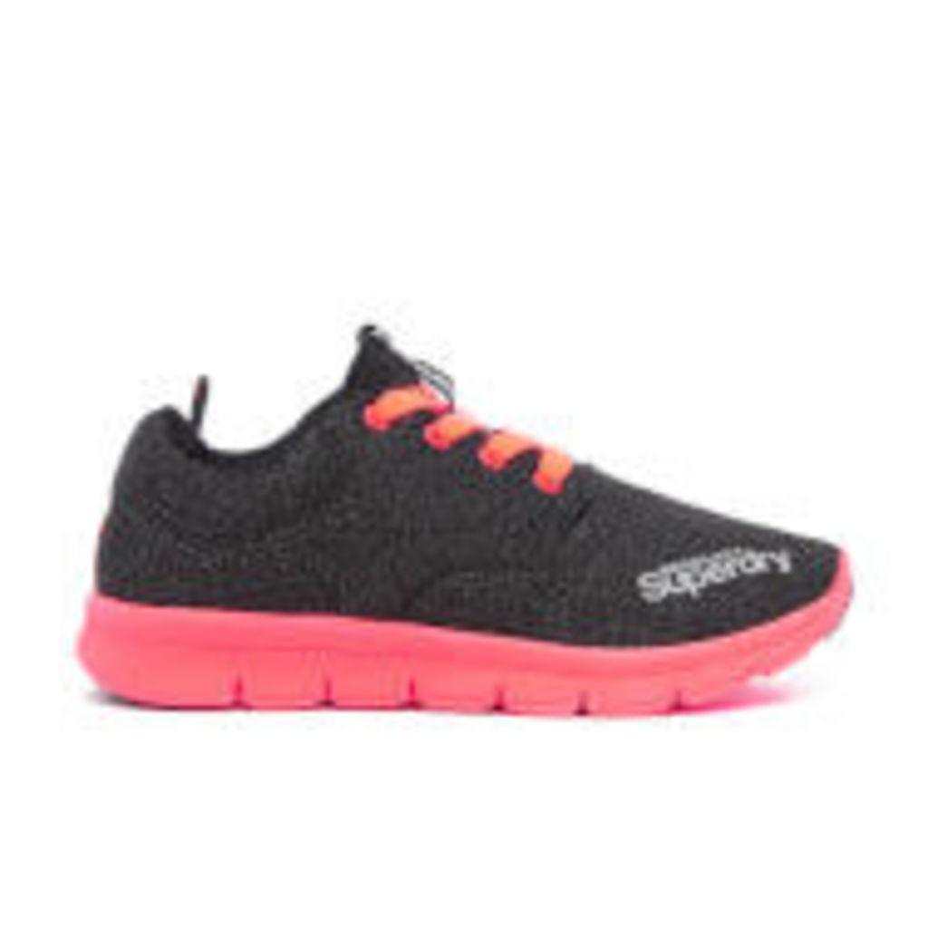 Superdry Women's Scuba Runner Trainers - Black Grit/Fluro Coral - UK 4
