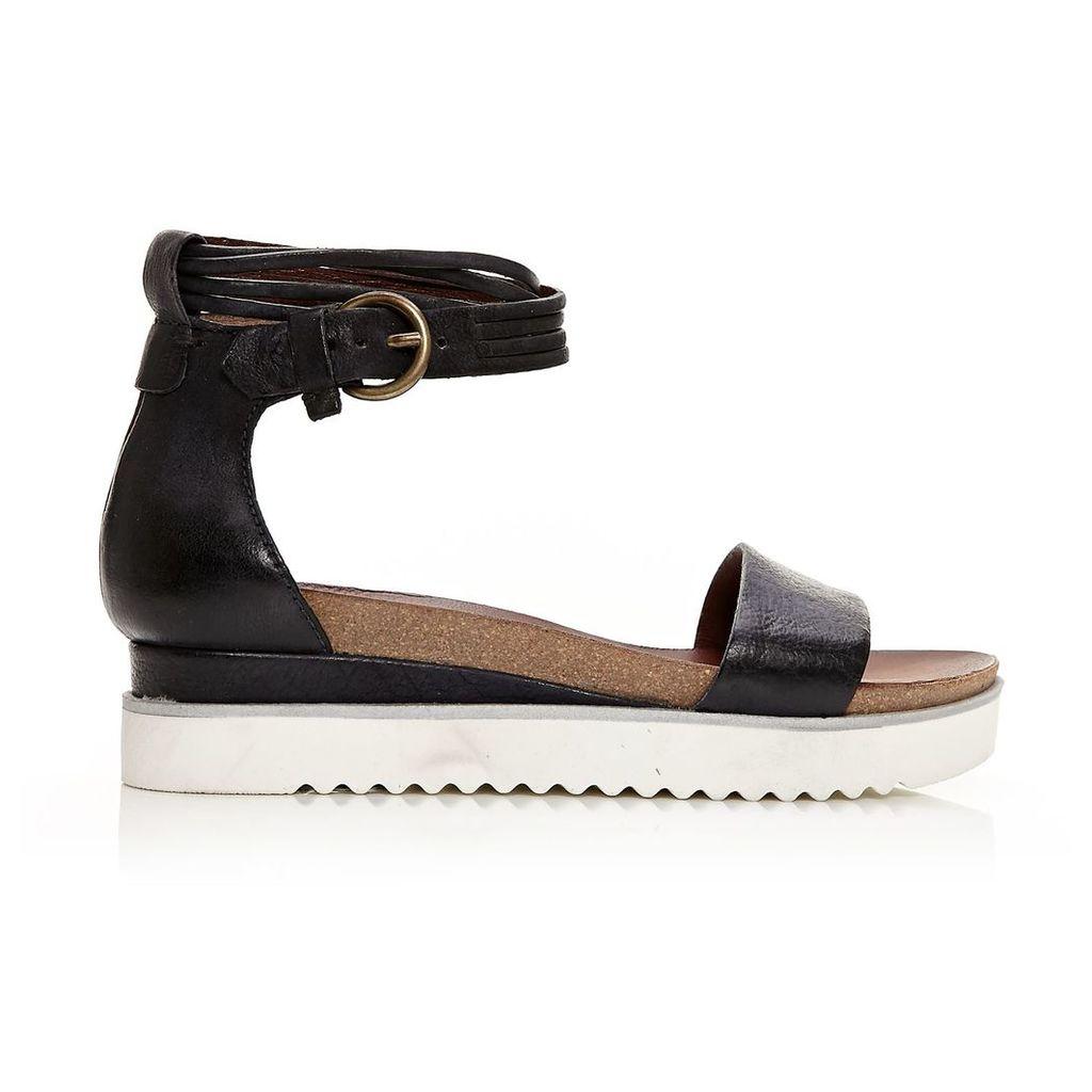 Moda in Pelle Pomi Black Low Casual Sandals