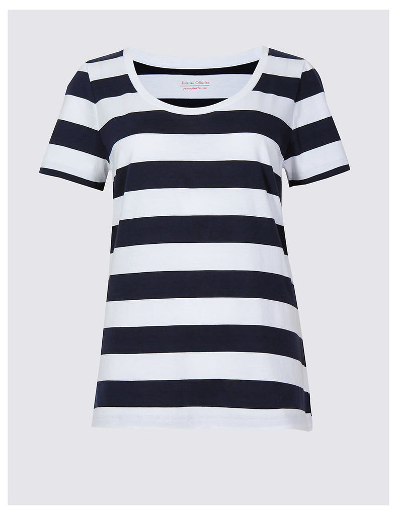 M&S Collection Pure Cotton Striped Perfect T-Shirt