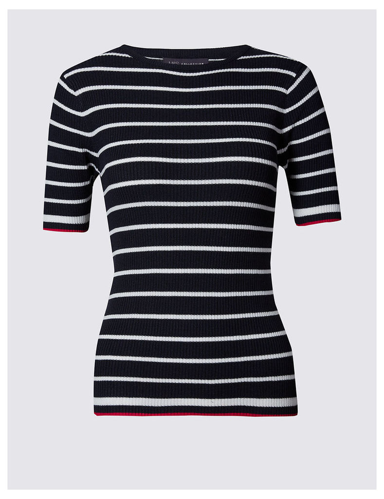 M&S Collection Striped Short Sleeve Round Neck Jumper