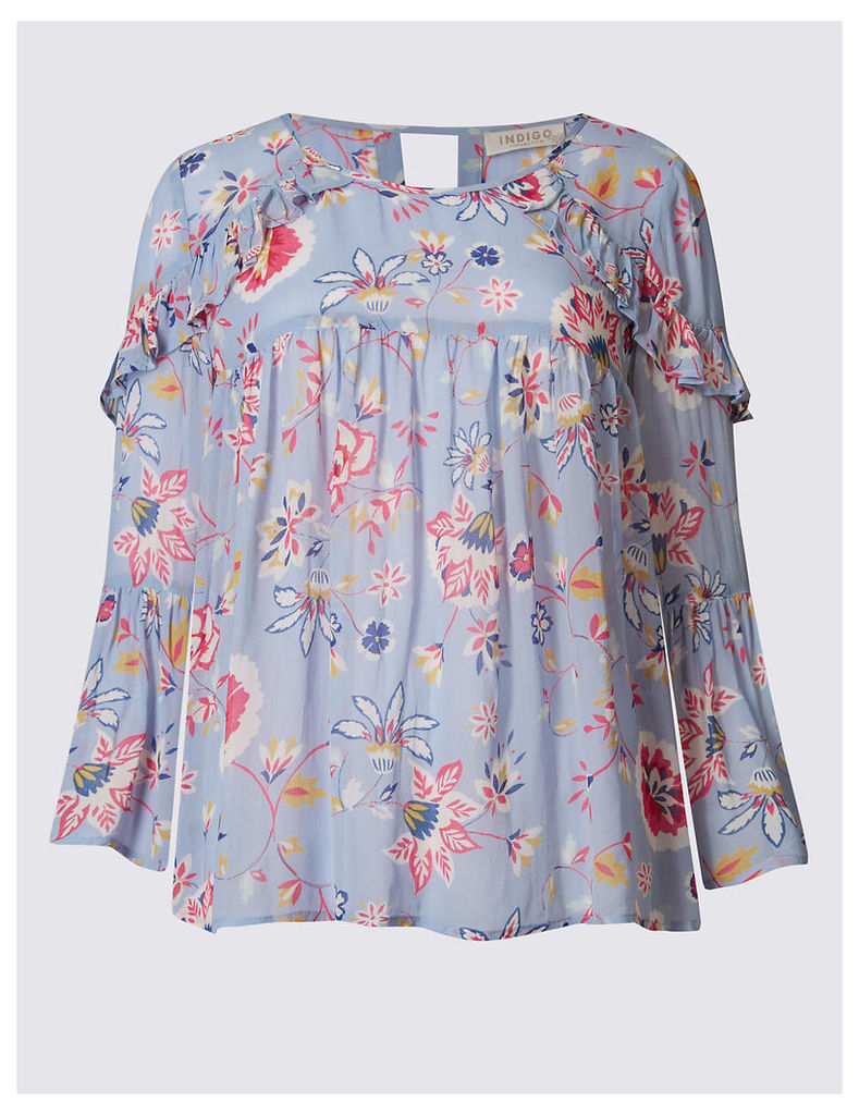 Indigo Collection Floral Print Ruffle 3/4 Sleeve Blouse