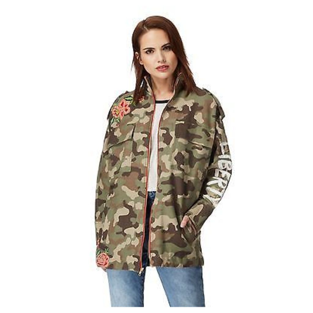 H! By Henry Holland Womens Khaki Camo Embroidered Jacket From Debenhams