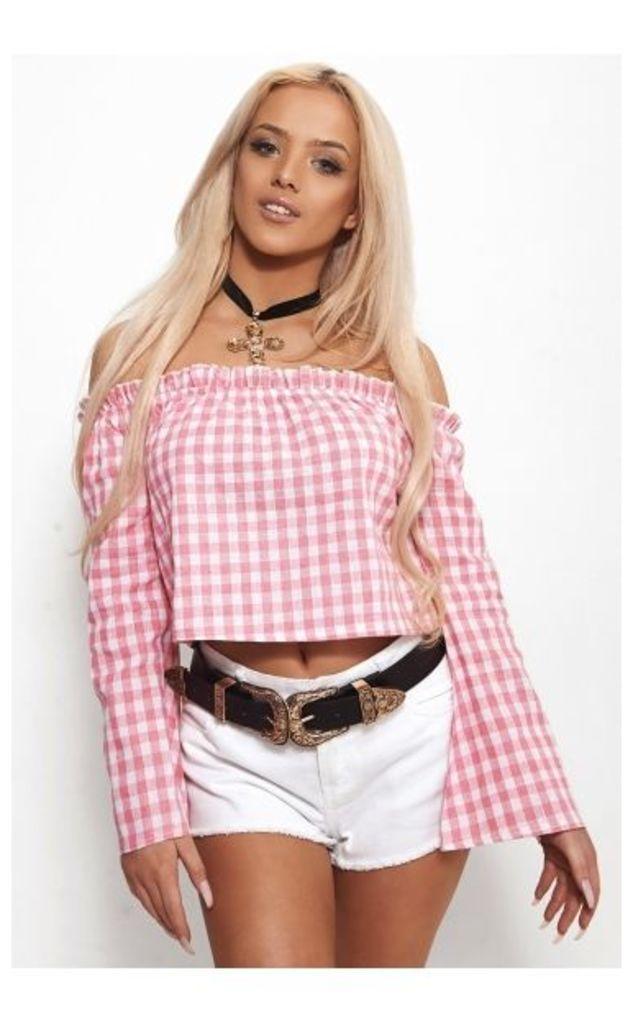 Siasa Pink Check Bardot Crop Top