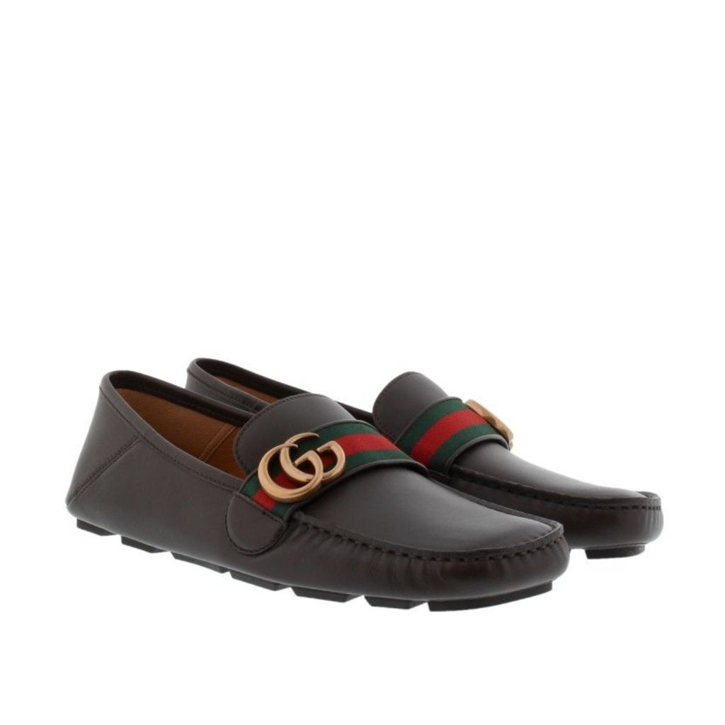 Gucci Loafers & Slippers - Velvety Calf Leather Loafers Cocoa/Verde/Rosso - in brown - Loafers & Slippers for ladies