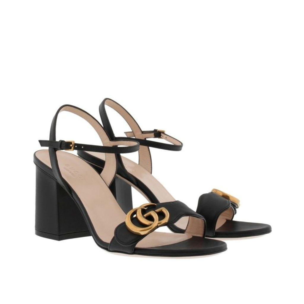 Gucci Sandals - Liffard Mid Heel Sandals Leather Nero - in black - Sandals for ladies