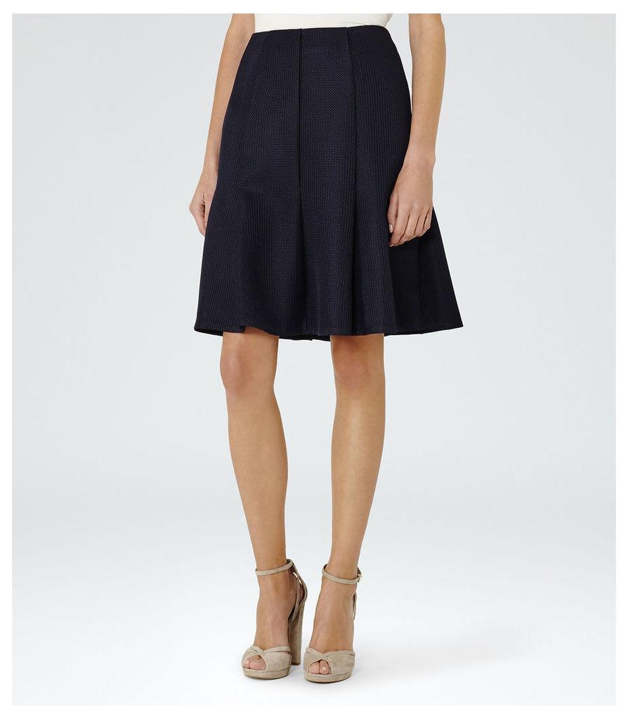 REISS Harmony - Womens Box-pleat Skirt in Blue