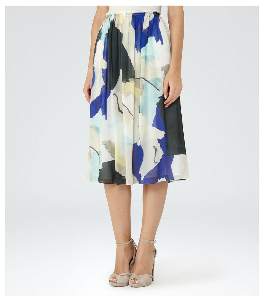 REISS Sia - Womens Printed Midi Skirt in Blue