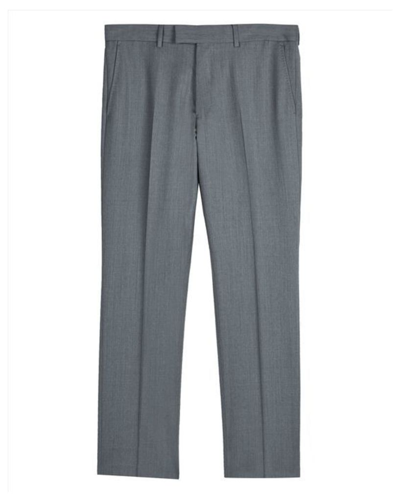 Wool Grey Regular Trousers