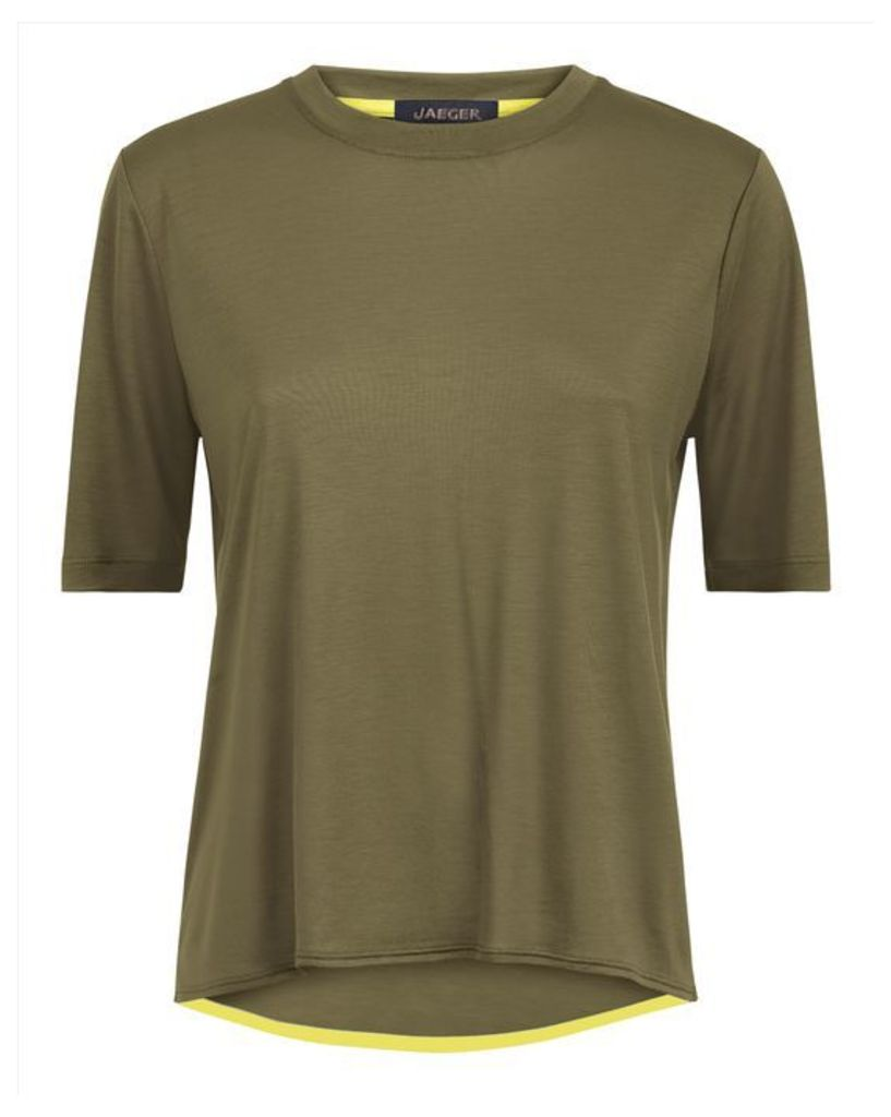 Curved Hem Crew Neck T-Shirt