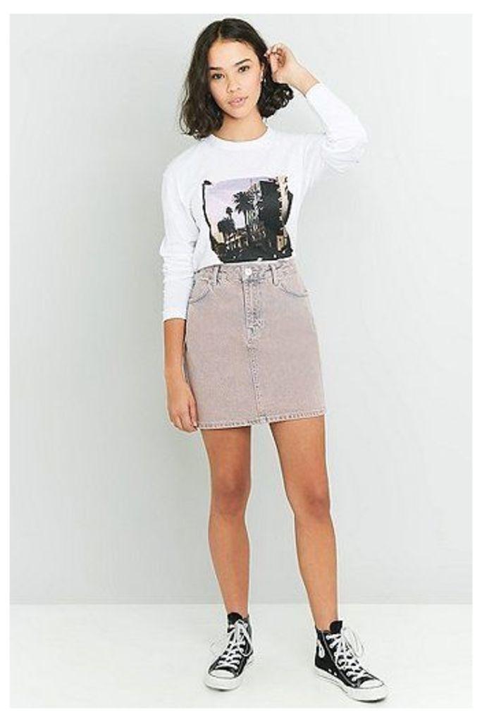 BDG Acid Wash Denim Pencil Skirt, Pink