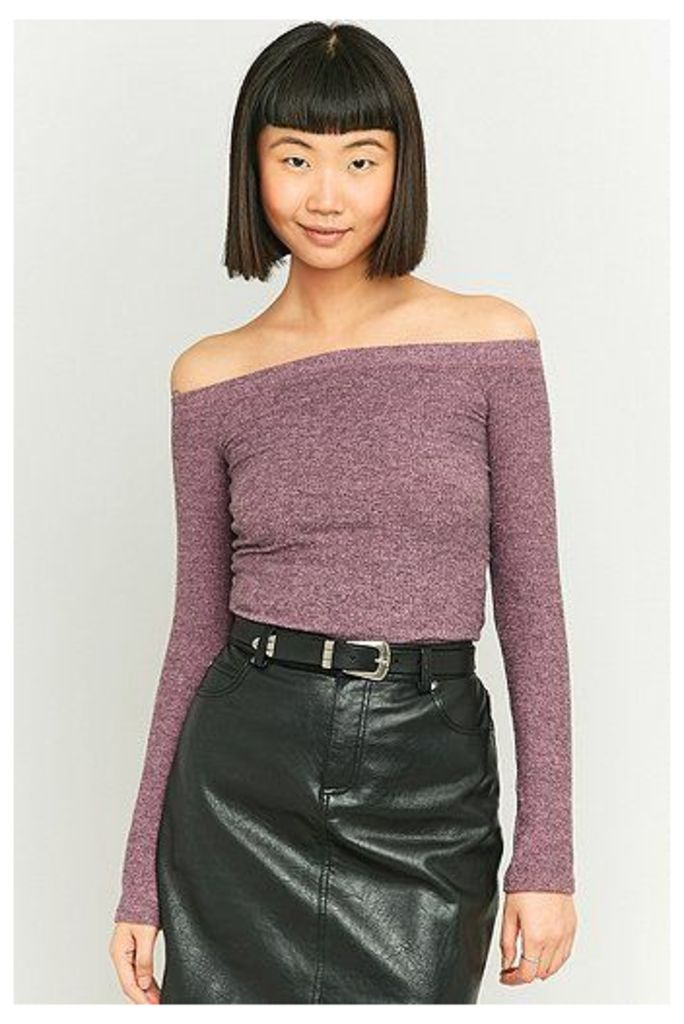 Urban Outfitters Cosy Ribbed Bardot Top, Purple
