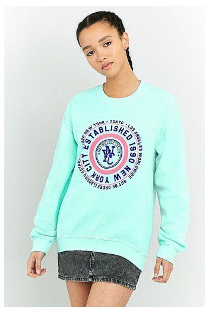 BDG NYC Circle Graphic Turquoise Sweatshirt, Mint