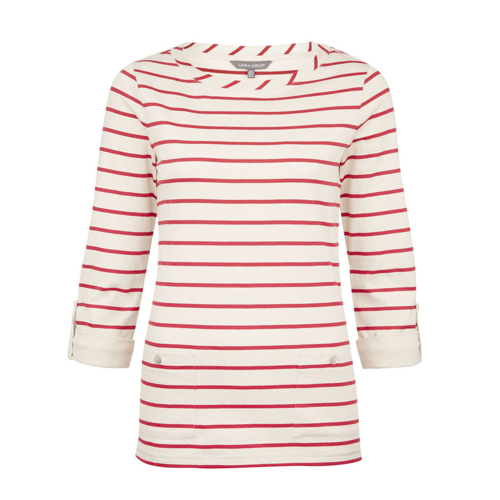 Roll Sleeve Red Striped Top