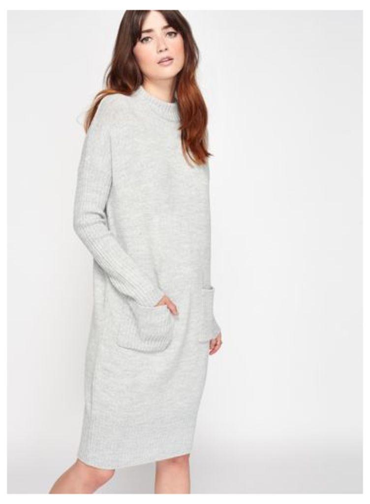Womens Grey Slouchy Pocket Knitted Dress, Grey