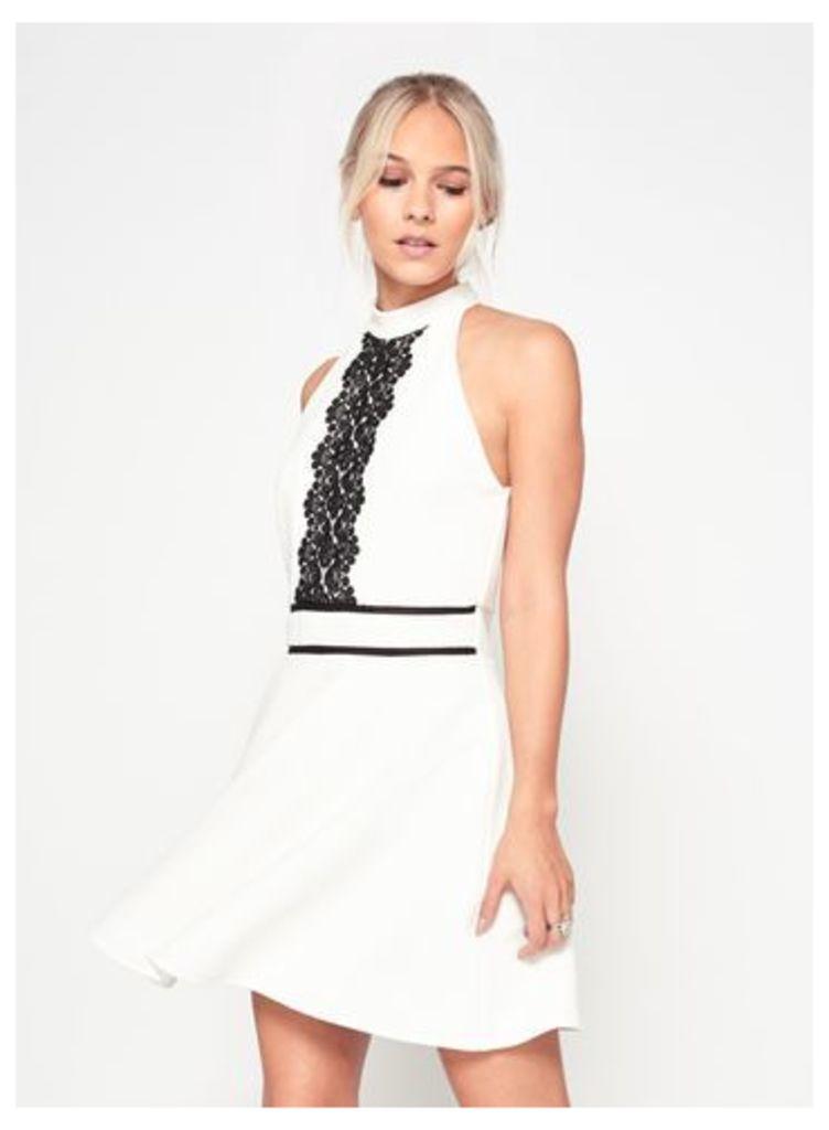 Womens PETITE Lace Panel Skater Dress, White
