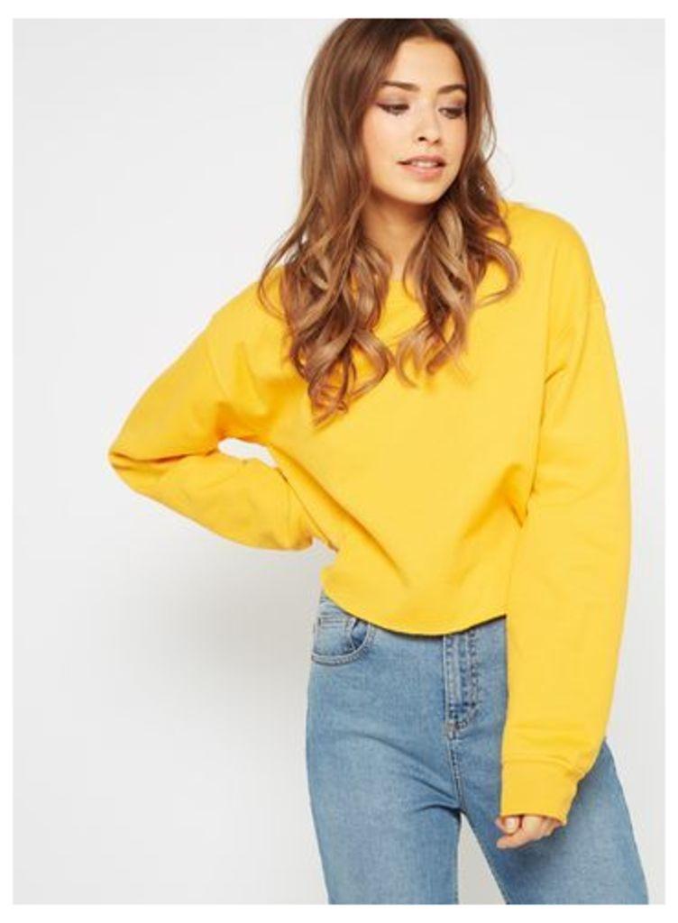 Womens Bright Yellow Cropped Sweatshirt, Ochre